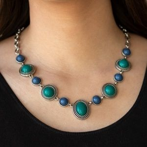 Blue Ornate Necklace Set